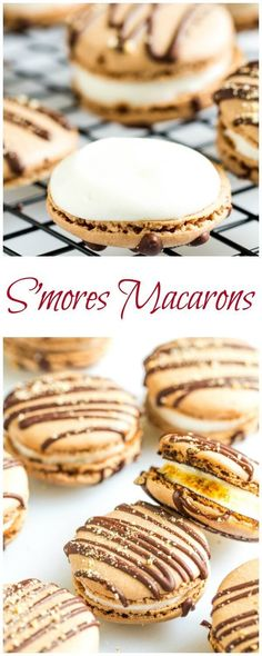 Macarons with Filling ~Sweet & Savory by Shinee - Ultimate summer dessert in an elegant french pastry form. My step by step visuals and detailed dire -S'mores Macarons with Filling ~Sweet & Savory by Shinee - Ultimate summer dessert in an elegant. French Desserts, Summer Desserts, Just Desserts, Delicious Desserts, Yummy Food, Gourmet Desserts, Plated Desserts, Finger Desserts, Baking Desserts