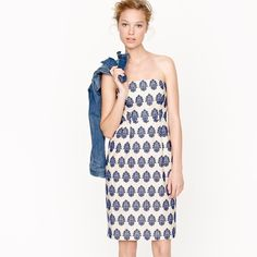 Darling J. Crew filigree embroidered dress Strapless white dress with blue embroidered filigree pattern. Fitted bodice has boning and internal hooks. Fully lined and like new. J. Crew Dresses