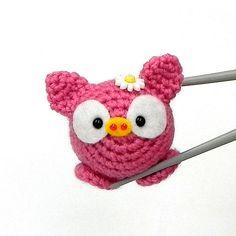 Crochet amigurumi Pinky Piggy MochiQtie Amigurumi by MochiQtie, Crochet Pig, Hand Crochet, Crochet Toys, Crochet Stitches, Crochet Pattern, Mini Things, Yarn Crafts, Doll Toys, Cute Gifts