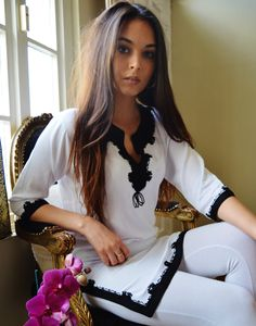 Autumn Trend Bohemian White Black Embroidery Moroccan Tunic Khalia-perfect gifts, holiday wear, ca Winter Trends, Spring Trends, Holiday Wear, Valentines Gifts For Her, Halloween Dress, Tunic Shirt, Sensual, Casual Wear, Moroccan