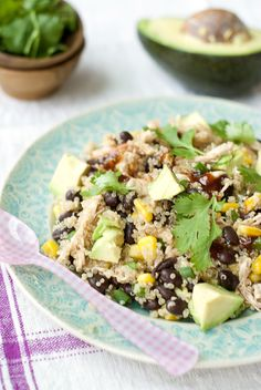 BBQ Chicken Quinoa Salad: 1 cup cooked quinoa,1/2 cup frozen or fresh corn, thawed, 1/2 cup black beans,1 cup shredded cooked chicken, 2 tbsp barbeque sauce, 1/2 avocado, 2 green onions