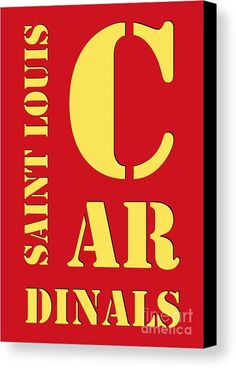 Saint Louis Cardinals Typography Red Canvas Print by Pablo Franchi.  All canvas prints are professionally printed, assembled, and shipped within 3 - 4 business days and delivered ready-to-hang on your wall. Choose from multiple print sizes, border colors, and canvas materials.
