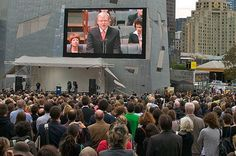 A crowd of people viewing Kevin Rudd's apology on a big screen, Federation Square, Melbourne Facade Architecture, State Government, Persecution, Oppression, Melbourne, Art Gallery, Survival, Politics, Digital