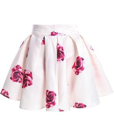 Apricot Rose Print Flare Skirt pictures