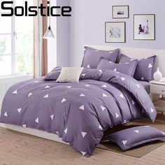 Solstice Home Textiles 2017 New 3/4pcs Bedding Sets Duvet Cover Bed Sheet Polyester Pillowcase Single Double Queen King Size #Affiliate