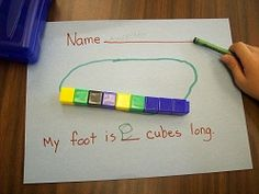 "Dr. Seuss  After reading the Foot Book we traced our foot and then measured it. We then colored and decorated our foot. ""F"" is for foot!"