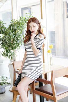 Cut Stripe Slim Dress