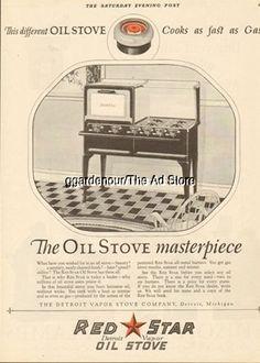 1924 Detroit Vapor Stove Co. Michigan-Red Star Oil Range/Cook-Kitchen Decor Ad