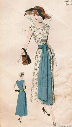 Vintage 1949 Dress Pattern - love the big sash!