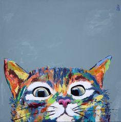 Marius - Peinture, 50x50x3 cm ©2017 par corentine gauthier - Toile, Animaux, chat, animal