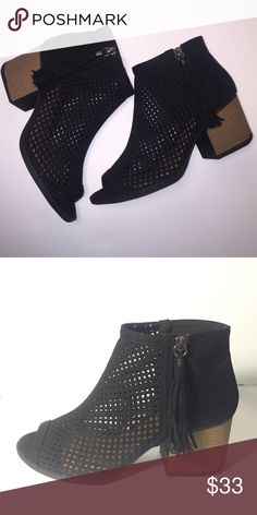 Peep toe bootie Brand new Boutique Brand💘  black with laser cut holes and fringe zipper. True to size! Heel is  aprrox 2.2 inches💕 using Steve for exposure Steve Madden Shoes Ankle Boots & Booties