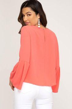 0271a8d5ee4de Bree Woven Bell Sleeve Top. Jess Lea Boutique