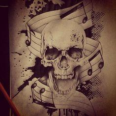 music skull draw