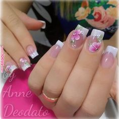 Photo shared by Clique Unhas on December 2018 tagging Image may contain: text that says 'annedeodato. French Nails, French Manicure Nails, Nail Nail, French Nail Designs, Acrylic Nail Designs, Nail Art Designs, Pink Nails, My Nails, Cute Nails