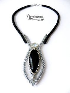 Moon tear necklace (sold) : A very elegant art-deco style necklace, with beadwoven straps in craw technique Bead Embroidery Jewelry, Beaded Jewelry Patterns, Bracelet Patterns, Seed Bead Jewelry, Bead Jewellery, Jewelry Gifts, Handmade Jewelry, Selling Jewelry, Necklace Designs