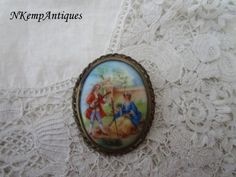 Limoges porcelain brooch 1930's by Nkempantiques on Etsy