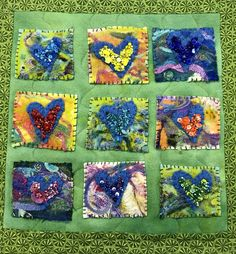 Small quilt sample with felting, hand stitching and beading - Artistic Artifacts Small Quilts, Mini Quilts, Felt Embroidery, Embroidery Stitches, Quilting Projects, Sewing Projects, Fabric Postcards, Art Bag, Wool Felt