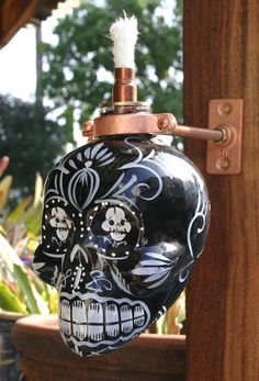 DIA DE LOS MUERTOS/DAY OF THE DEAD~KAH Extra Anejo Skull Tequila Tiki Torch / Oil Lamp by JadaNJace