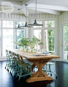 cottage dining. love this table. Use wicker or industrial chairs?