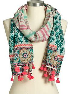 Women's Printed-Embroidered Tassel Scarves