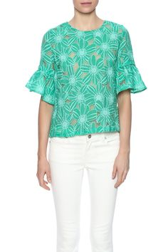 Green and white vintage floral top features a button down back, round neckline andshortbellsleeves.   Green Vintage Blouse by Glam Squad Shop. Clothing - Tops - Blouses & Shirts Clothing - Tops - Short Sleeve Las Vegas