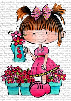 Lucy's Flowers Sasayaki Glitter Digital Stamps by SasayakiGlitter