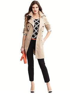 Women's Apparel 2013: outfits we love | Banana Republic [Skye plaid pullover, Sloan fit slim ankle pant, classic trench, exotic belt, Monique clutch, Kiley cap-toe pump]