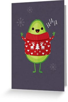 """Avo Merry Christmas! Avocado Holiday greeting card design by daisy-beatrice. Available in 4"""" x 6"""", and 5"""" x 7.5"""", and postcards."""