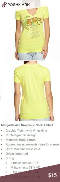 NWT Margaritaville Hibiscus Womens V-Neck New V-neck women's tee.  Size Med.  Beautiful bright yellow with classic Margaritaville lyrics!  See description in 3rd pic.  Make an offer or Bundle for a private discount! Margaritaville Tops Tees - Short Sleeve