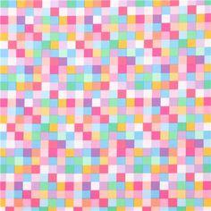 square chessboard mosaic fabric 'Rainbow Remix' Sweet Robert Kaufman - Dots, Stripes, Checker - Fabric - kawaii shop modeS4u