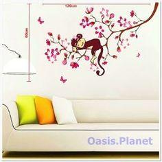 Pink Monkey Blossom Wall Stickers art Mural Children Wallpaper Kids Girl Nursery