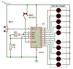 LED Bar Graph is an LED array, which is used to connect with electronic circuits or microcontrollers. It's easy to connect LED bar graph with the circuit like as connecting 10 individual LEDs with 10 output pins. Ldr Circuit, Bar Graphs, Circuit Projects, Electronics Projects, Arduino, Floor Plans, Led, Soldering, David
