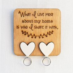 Laser Engraved Mahogany Wooden Key Holder, What I love most about my home is who I share it with, 134 mm by 134 mm. Wooden Key Holder, Laser Engraving, Projects To Try, Diy Crafts, My Love, Gifts, Quote, Organization, Decorating