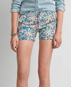AEO Twill X Midi Shorts, Women's, Multicolored