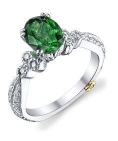 18k white gold Daydream ring featuring a 2.06ct tsavorite and 0.385ctw diamonds.This piece may be reproduced in the gemstone of your choice. Please allow additional time to source stones.