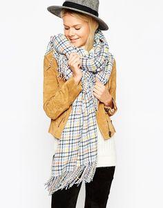 Image 1 - ASOS - Écharpe oversize tissée en tweed à carreaux pastels avec franges  Frange a8755454de6