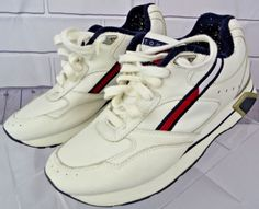 90635e7ae02 VIntage 90 s Tommy Hilfiger Athletic Sneakers Shoes White Red Navy size  8.5M