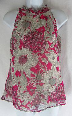 Liberty of London Target Floral Print Pink Gray Tank Top XS Ruffle Collar  $16.99