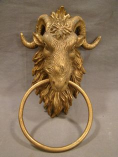 Vintage Brass Figural Gothic Castle Goat Rams Head Horns Mansion Door Knocker