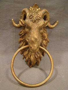Vintage Brass Figural Gothic Castle Goat Rams Head Horns Mansion Door Knocker