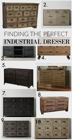 So we've been on a hunt for a new dresser in our master bedroom and it's taking me awhile to pull the trigger on anything. So here is my dilemma, we had a temporary dresser in there that totally… Industrial Dresser, Industrial Bedroom Furniture, Industrial Interior Design, Industrial Interiors, Industrial House, Vintage Furniture, Home Furniture, Kitchen Furniture, Industrial Nursery