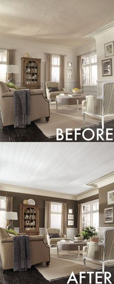 Chocolate walls and Armstrong plank ceilings. Huge difference! Love these tips on how to update a ceiling. Click pic for tips.
