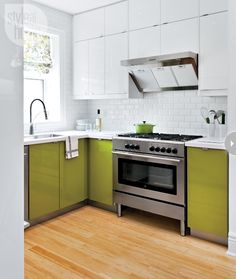 To BOLD the upper or lower...this is the question x via style at home Colourful kitchen cabinets {PHOTO: Donna Griffith}