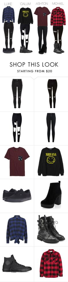 5SOS by jstoffx on Polyvore featuring Cheap Monday, Chicnova Fashion, River Island, Topshop, WithChic, New Look, Giuseppe Zanotti, Converse, Vans and Rip Curl