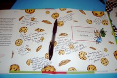 """Guest sign-in book. """"When You Give a Mouse a Cookie"""". Guests wrote a message to the baby. Then it was given as a gift to the mom."""