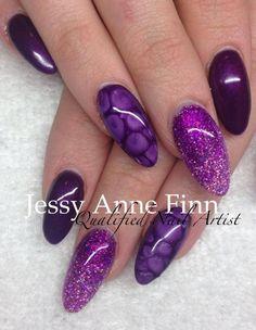love the purple glitter The Art Of Nails, Great Nails, Cute Nails, Amazing Nails, Hair And Nails, My Nails, Chrome Nail Art, Work Nails, Nail Envy