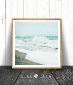 Coastal Print, Beach Decor, Photo Wall Art, Ocean Print, Coastal Beach Nautical Decor, Large Square Print, Blue, Beach House Decor