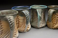 """Lora Rust Ceramics No clay is added, removed, or (something else). She """"pushes clay"""" in soft leather hard."""