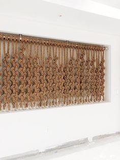 Linescape by Windy Chien, 2018 Macrame Wall Hanging Patterns, Macrame Art, Macrame Design, Macrame Projects, Macrame Patterns, Sisal, Macrame Curtain, Tapestry Weaving, Metal Wall Art