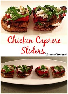 Roasted Red Pepper Chicken Sliders | Only 190 Calories For Entire Satiating Meal | Salty & Savory Topped Crispy Grilled Chicken on the Outside, Moist & Tender on Inside | You'll never need a Burger Slider again! | For MORE RECIPES please SIGN UP for our FREE NEWSLETTER www.NutritionTwins.com